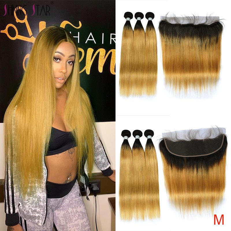 Colored Ombre T1B/27 Blonde Human Hair Bundles With Frontal Shining Star Non-Remy Brazilian Straight Hair Bundles With Closure