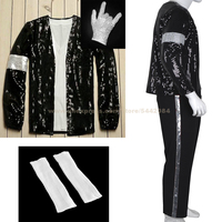 MJ Michael Jackson Billie Jean Suits Sequin Armband Jacket Pants Glove Socks Party Costume Kids Adults Cosplay Prop