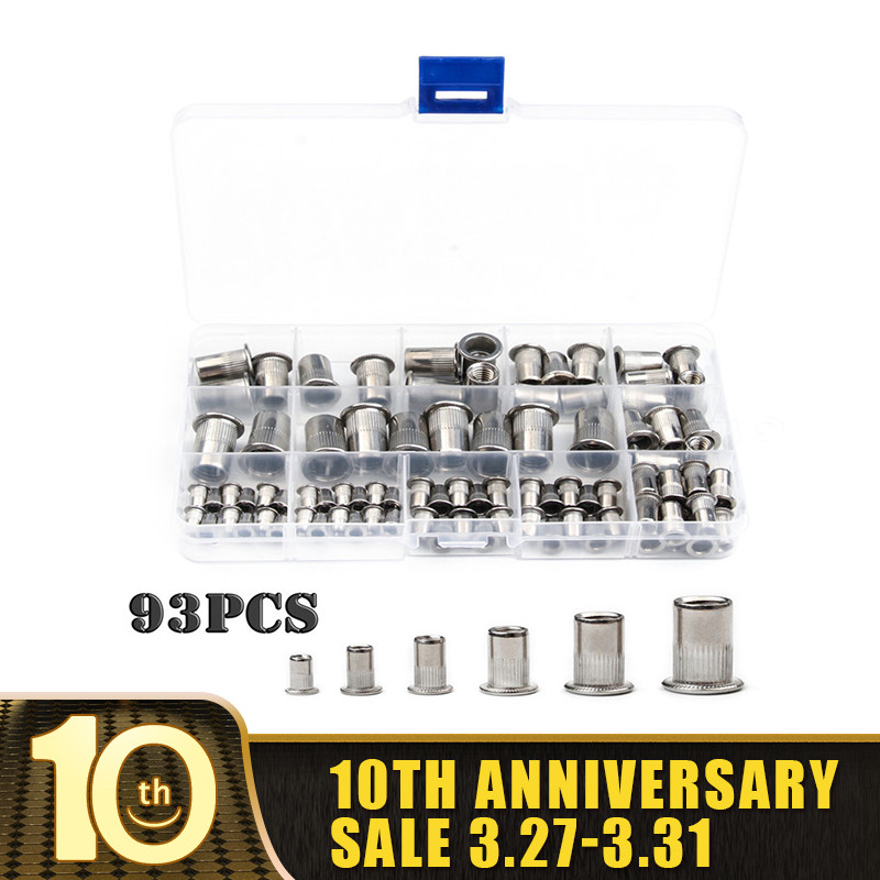 93/50PCS Stainless Steel Flat Head Rivet Nuts Set M3 M4 M5 M6 M8 M10 Insert Reveting Multi Size Rivet Nuts
