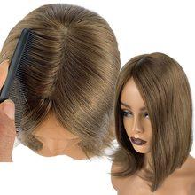 Perruque De Cheveux Humains Pour les femmes Chinoises Cheveux Raides Pièce Soie Base Perruques Clip Dans Les Extensions De Cheveux Brun