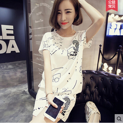 Summer Short-sleeved Pajamas Women's Korean-style Home Wear 33 Lettered Greyish White Two-color Sports Leisure Suit