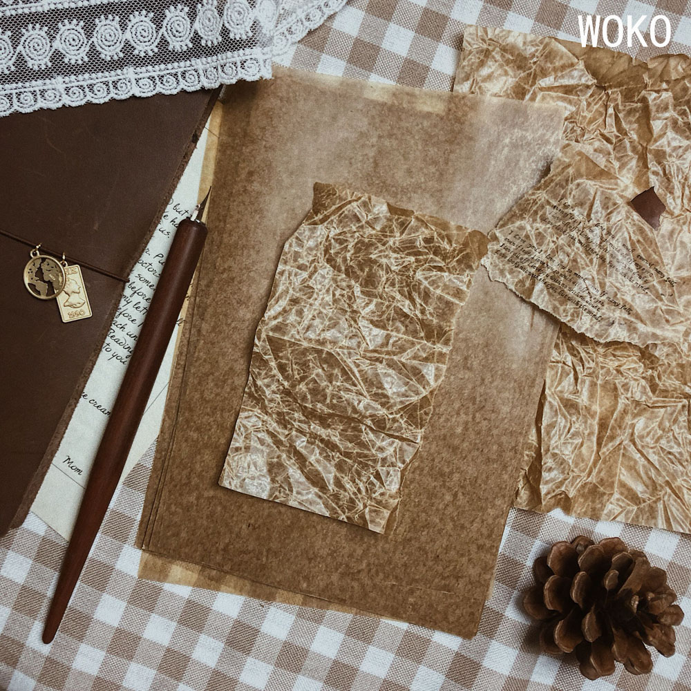 WOKO 60pcs High Quality Wax Paper Retro Practical Handbook Material Paper Old Background Collage Sticker DIY Scrapbooking Stamp