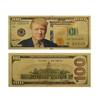 Wholesale 100 Pieces President Donald Trump Colorized $100 Dollar Bill Gold Foil Banknote US Currency Collections