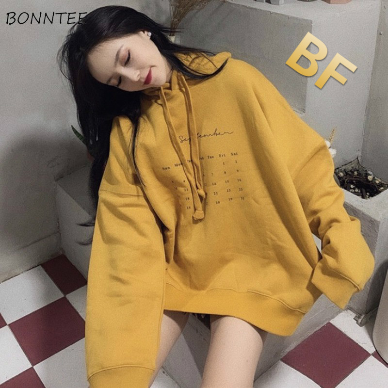 Hoodies Women Sweatshirt Letter BF Ulzzang Leisure Daily All-match Streetwear Loose Korean Style Chic Womens Clothes New Hooded