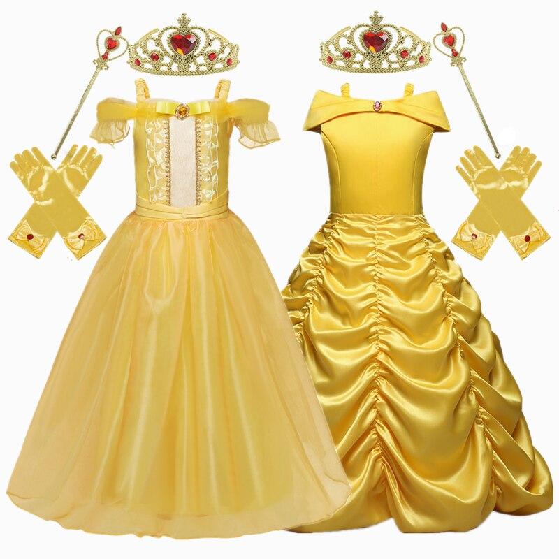 Golden Princess Dress Cosplay Girls Dress Crown Magic Stick Party Kids Dress For Girls Clothing Birthday Ball Gown 1
