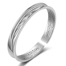 Retro Silver Leaves Pattern Bangles For Women Men Leaf Open Cuff Bracelets & Bangles Jewelry pulseras Lovers Bangle Gift(China)