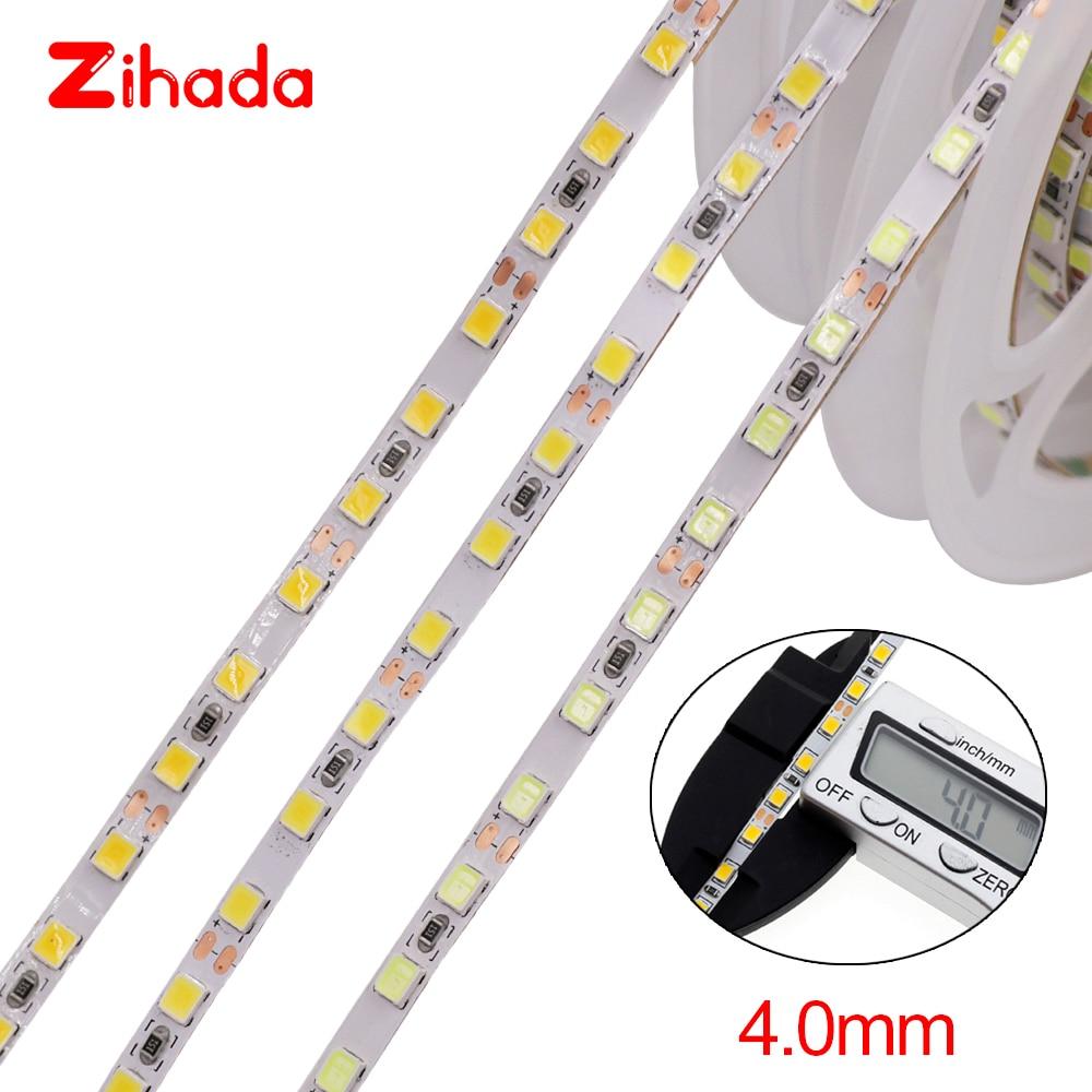 5m LED tira 2835 SMD 120 LEDs/m DC12V 4MM Flexible LED cinta LED luz lámpara blanco Natural/blanco cálido Tira de LED RGB impermeable 5050 5M 10M 15M 20M 30M DC 12V RGBWW RGBW tiras de luz LED flexibles agregar controlador amplificador de potencia