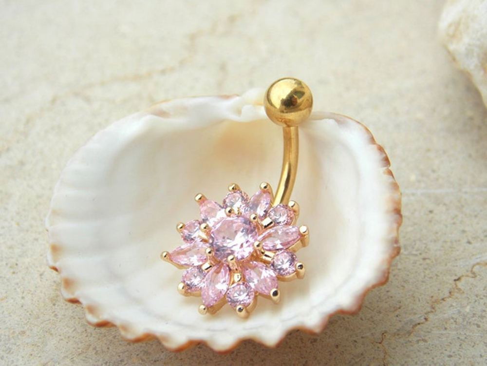 H44a0a39d921840ada74cbbeddd91ed11j Navel Piercing Body Jewelry Crystal Flower Belly Button Ring
