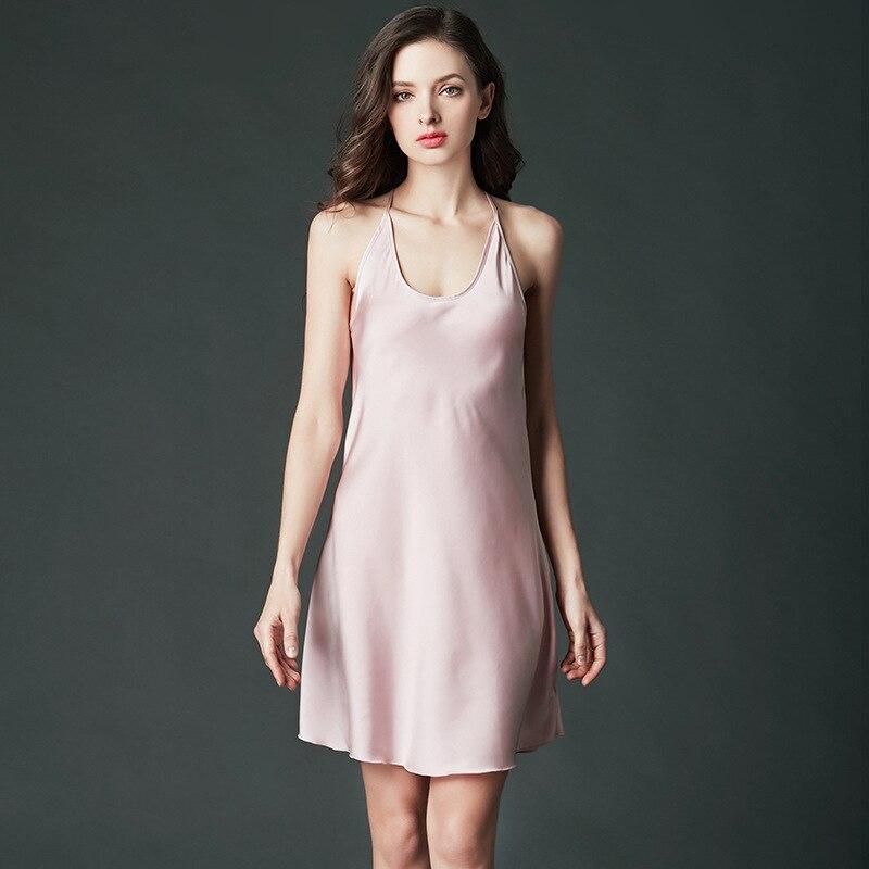 [ALFOU] brand Sleepwear womens strap Sleeveless Nightwear Summer solid color backless nightdress Women Sexy Pajamas