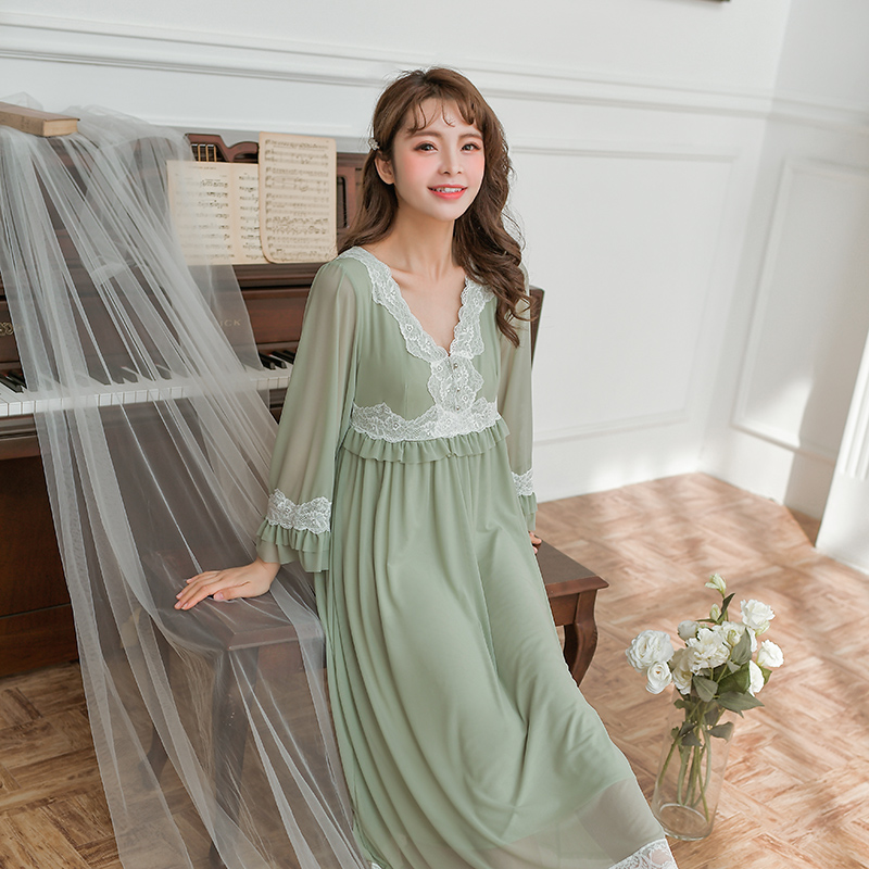 Modal Mandarin Sleeve Female Sleepwear Vintage V-neck Lady Long Nightgown With Lace Decoration