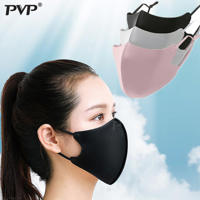 1/3PCS Ice Silk Masks Washable Anti Dust Allergies Mask Travel Reusable Adjustable earloop straps support long-time usage Cotton