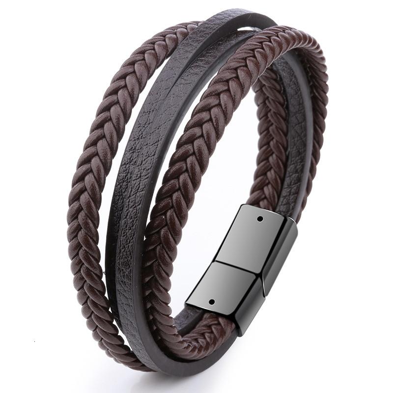Мужской браслет, многослойный кожаный браслет с магнитной застежкой, Воловья кожа, плетеный многослойный браслет, модный браслет на руку, pulsera hombre - Окраска металла: 3