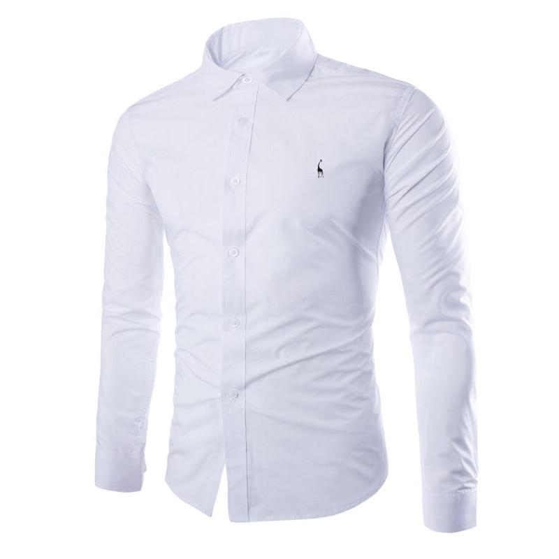 Dropshipping Men Shirt Brand 2018 Male Giraffe Embroidery Long Sleeve Shirts Casual Hit Color Slim Fit Black Man Dress Shirts