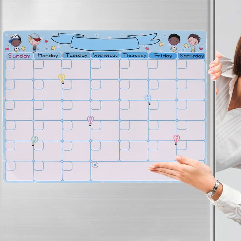 Cute Monthly Planner Magnetic Whiteboard Fridge Magnet Message Board Remind Memo