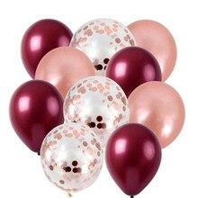 10 unids/lote de globos de confeti de oro rosa, globos de látex rojo vino burdeos, decoración de boda, suministros para fiesta de feliz cumpleaños, globos