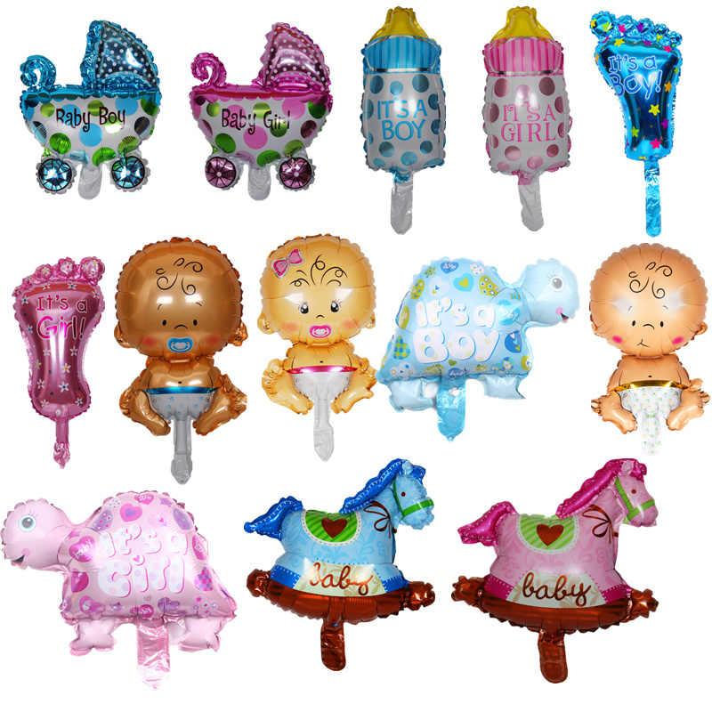Mini Bé Trai, bé gái, động vật bóng trẻ em Bé nhôm Heli bong bóng sinh nhật trang trí bóng cổ điển đồ chơi