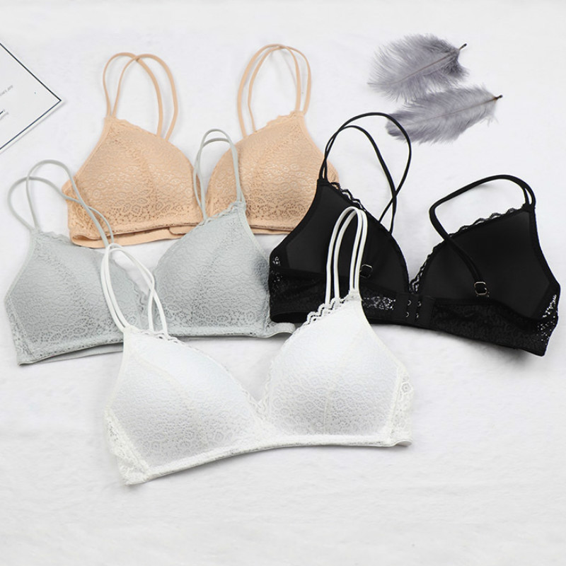 Black Bra Wire Free Push Up Sexy Women Bras Lace Bralette Lingerie Small Breast Adjusts A B C Bra Female Underwear