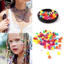 Dreadlock Hair-Beads Tube Braids Multicoloured Plastic Girls for Crochet Women 100pcs/Bag