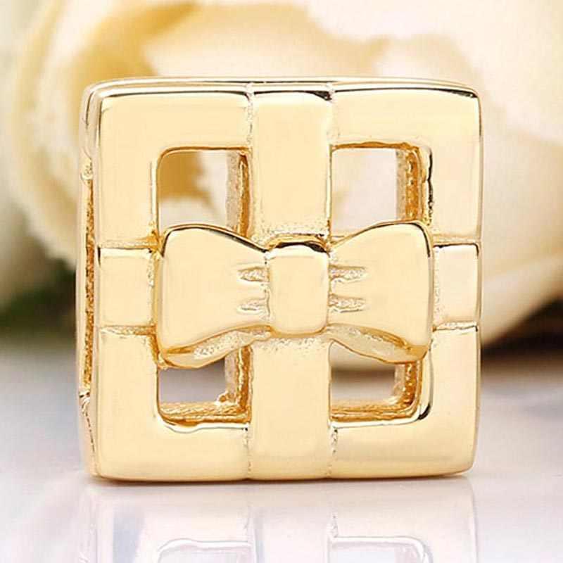 Original Gold Farbe Glanz Reflexions Geschenk Box Clip Stopper Lock Perlen Fit 925 Sterling Silber Charme Pandora Armband Diy Schmuck