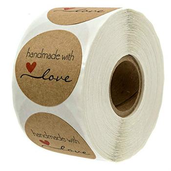 500 sztuk #8222 Handmade With Love #8221 naklejki papierowe Kraft okrągłe etykiety samoprzylepne do ciast weselnych dekoracje Party naklejka dekoracyjna tanie i dobre opinie FGHGF CN (pochodzenie) Kraft paper Handmade with Love Stickers