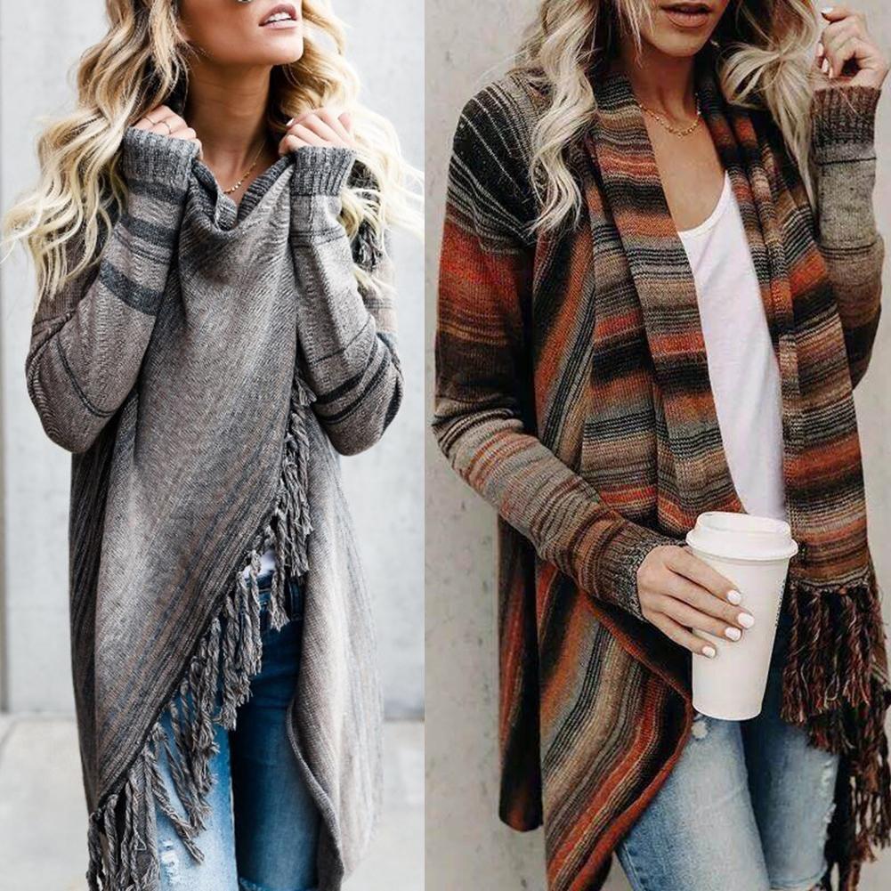 Knitted Cardigan Sweater Autumn Winter Women Stripe Poncho Tassels Shawl Loose Sweater Knitwear Cardigan Female Graceful Coat Ho