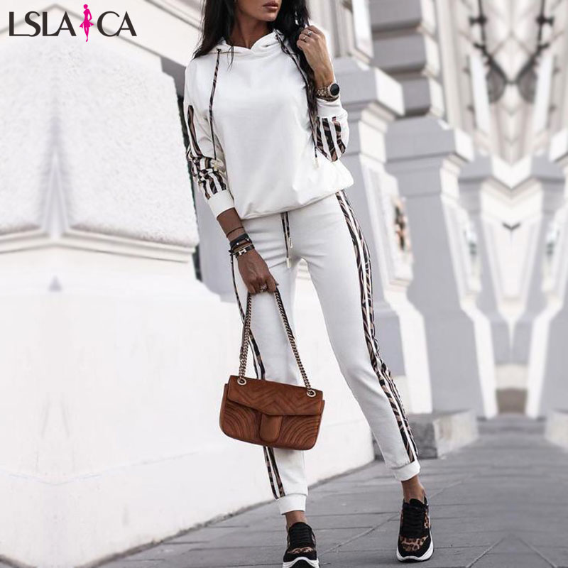 Hot Sale 2 Piece Set Women Striped Drawstring Design Hooded Tops & Casual Pant Sets Elegant Wild 2 Piece Outfits For Women