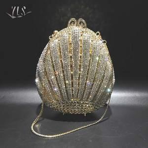 Модная роскошная сумка в виде ракушки с золотыми бриллиантами для женщин, вечерний клатч для вечеринки, торебки, дамские свадебные сумочки