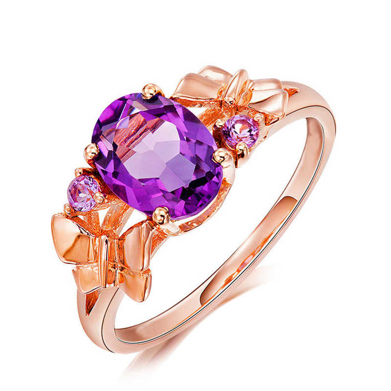 Youth Fashion Jewelry Butterfly Rose Golden Purple Crystal CZ Ring Valentine's Day, Suitable for Delicate and Beautiful Girls