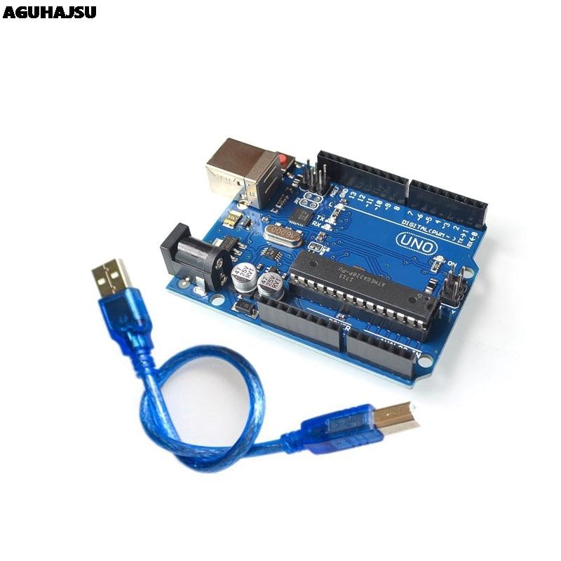 Alta qualidade um conjunto uno r3 caixa oficial atmega16u2 + mega328p chip para arduino uno r3 placa de desenvolvimento + cabo usb