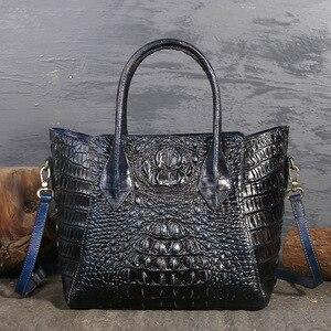 Image 3 - تصميم أصلي العلامة التجارية حقيبة المرأة 2020 ريترو نمط جديد كامل الحبوب والجلود اليد حقيبة كبيرة نمط التمساح المرأة حقيبة جلدية