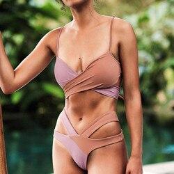 Bikini kobiety Rainbow kolorowe Bandeau bandaż Bikini Set Push-Up brazylijskie stroje kąpielowe strój kąpielowy kostiumy kąpielowe strąckąpielowy 5