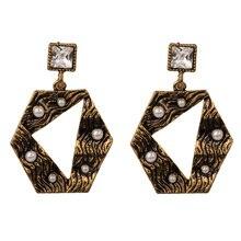Korean Earrings for Women Imitation Pearls CZ Crystal Statement  Chandelier Earring Fashion Jewelry Gold/Silver Tone