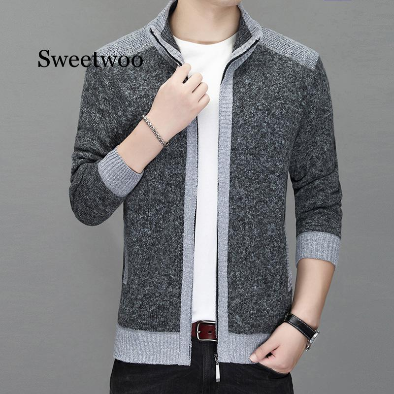 Spring Men Sweaters Cardigans Casual Jackets Stand Collar Warm Sweatercoat Men's Clothing Autumn Winter Coat Gray
