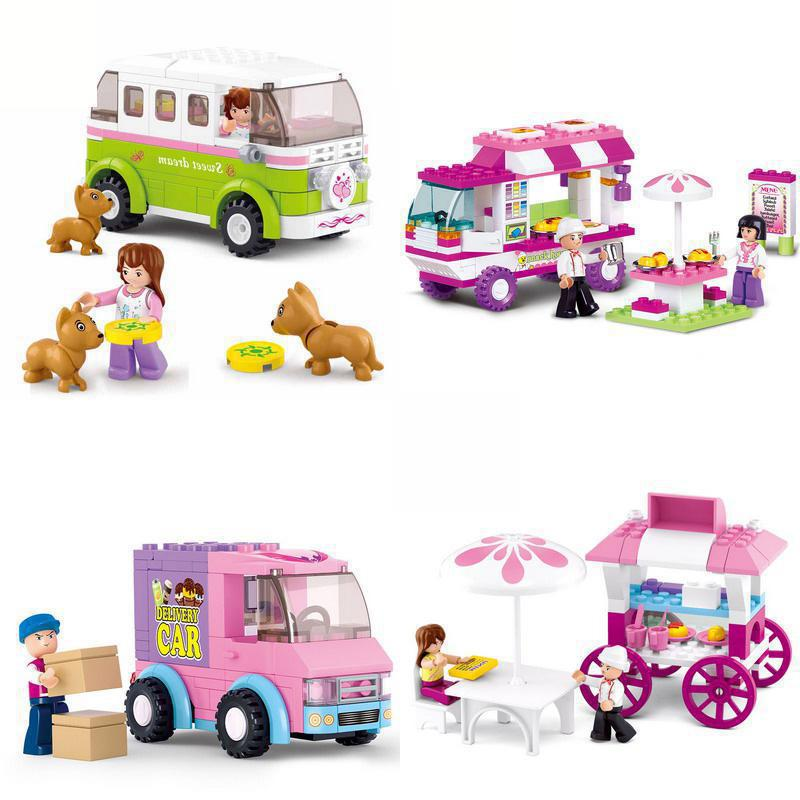 Girl Compatible Legoinglys Friends Snack Car Delivery Car Dining Car Travel Car Model Building Blocks Figure Toys For Children