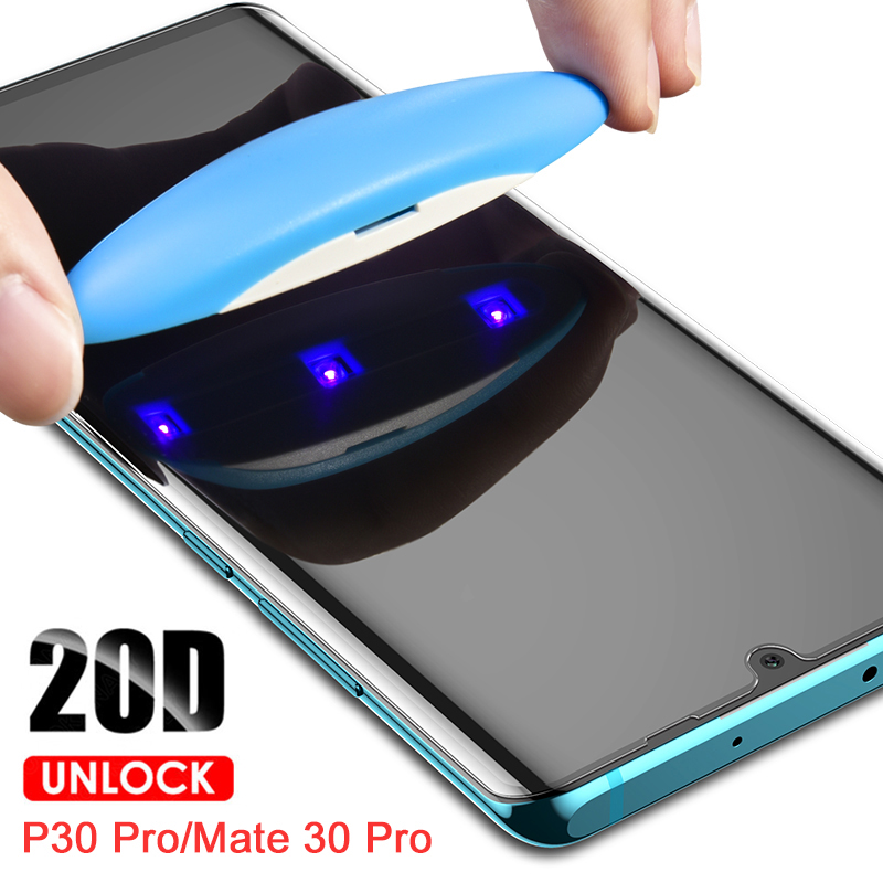 UV Glue Screen Protector For Huawei Mate 30 20 Pro Tempered Glass Full Cover For Mate 20 Pro P30 Lite UV Glass For P20 P30 Pro