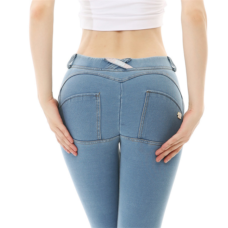 Women Push Up Peach Jeans High Elastic Skinny Button Pants 2019 New Fashion Summer Autumn Pencil Pants Plus Size Sexy Jeans