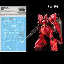 สติกเกอร์รูปลอกน้ำวางสำหรับ Bandai RG 1/144 MSN 04 SAZABI Gundam ชุดตกแต่งสติกเกอร์อะไหล่