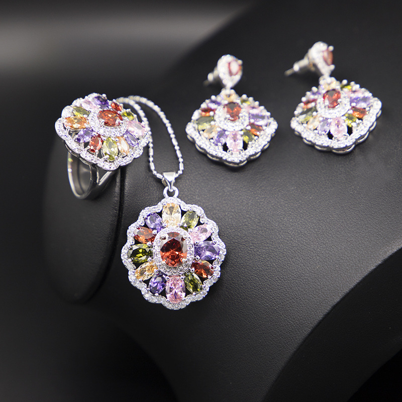 GZJY Luxury Brand Women Multicolor Crystal Jewelry Sets 925 Sterling Silver Earrings Necklace Pendant Ring Wedding Bridal Party(China)