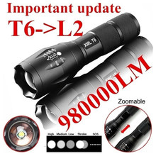 Tragbare T6 Tactical Military LED Taschenlampe 980000LM Zoomable 5-Modus Ohne Batterie Im Freien Werkzeuge