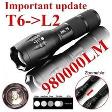 T6 portátil tático militar lanterna led 980000lm zoomable 5-mode sem bateria ferramentas ao ar livre