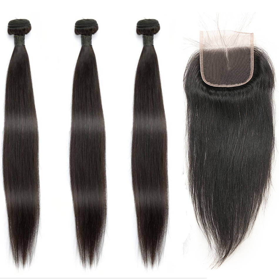 Indian Straight Human Hair Bundles With Closure 3 Bundles Deal With Closure 4 Pcs/Lot MIHAIR Bundles Remy Middle Part-in 3/4 Bundles with Closure from Hair Extensions & Wigs