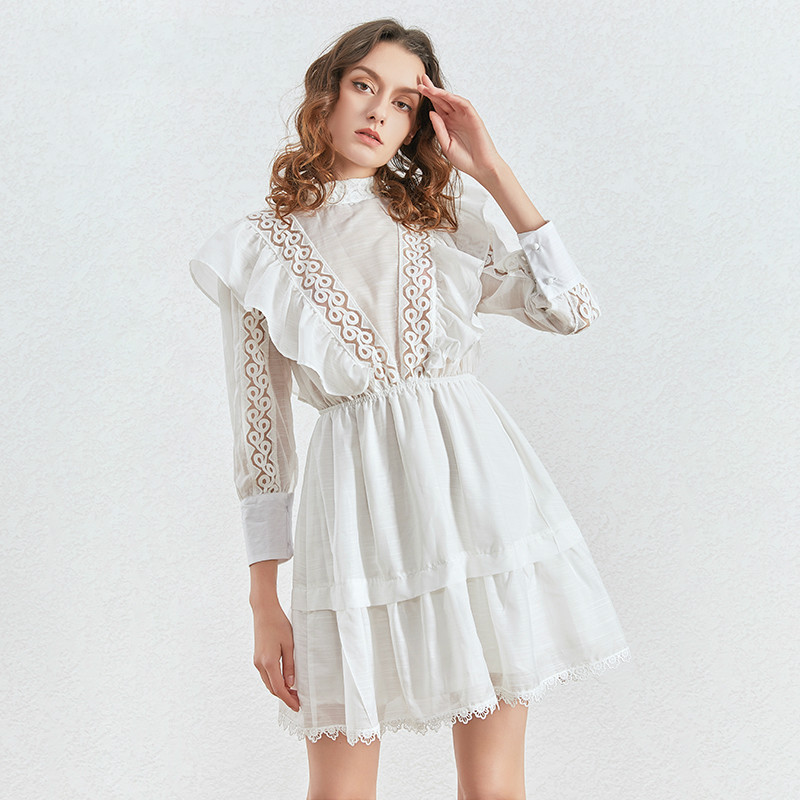 Pacthwork Lace Ruffles Dress Women Stand Collar Lantern Long Sleeve High Waist Ruched Dresses For Female 2020 Tide