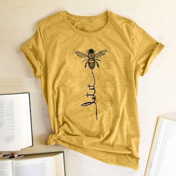 Женская футболка с принтом пчелы, футболка из хлопка и полиэстера с коротким рукавом, 2019 - AliExpress