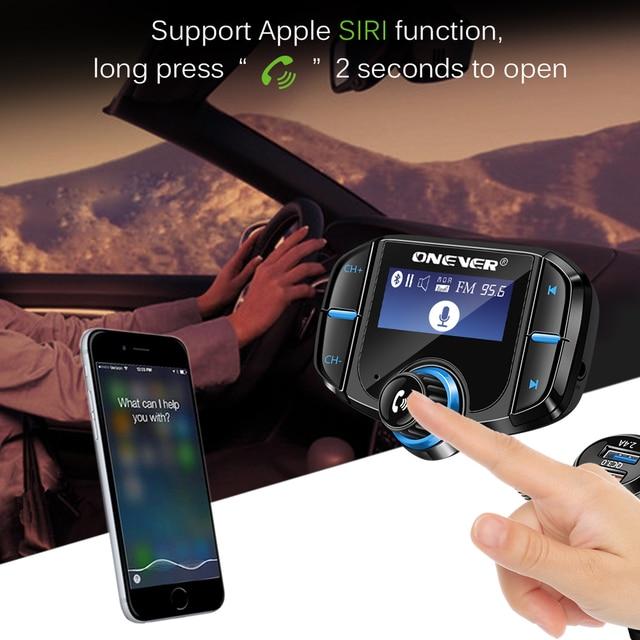 Onever QC3.0 Support Siri FM transmetteur Bluetooth FM modulateur 2 ports chargeur de Charge rapide Kit mains libres voiture 1.65 lecteur MP3