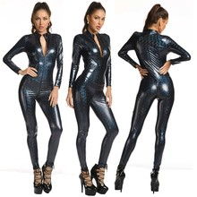 Jumpsuit Vinyl Leotard Latex Bondage Skinny Zip-Wetlook Sexy Women New Patent