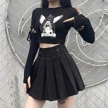 2021 impressão de bruxa preto retro punk topos gótico harajuku primavera novo retalhos manga longa magro t-shirts moda feminina topo