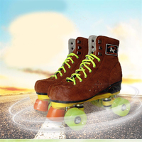 New adults double lines skating shoes cow leather quad roller skates boots brown