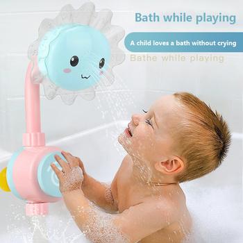 Słonecznik wanienka do kąpieli zabawka wanna prysznice pływanie łazienka kąpiel zabawka dla dzieci słonecznik prysznic kran Spray woda zabawki do kąpieli tanie i dobre opinie 3 lat Baby Bath Spray Faucet Other Children Bathing Spout Baby Bath Spray Faucet Flower Shower Head Sunflower Bath Toy