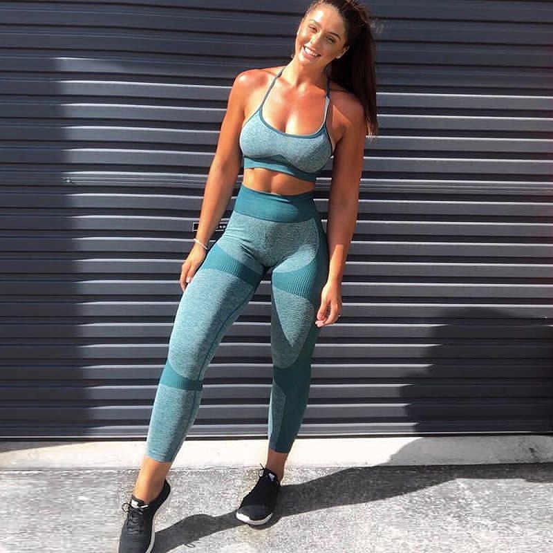 Nahtlose Yoga Set Fitness Kleidung Sportswear Hohe Taille Frauen Gym Leggings Strumpfhosen Padded Push-up-Bh Sport Sets 1874