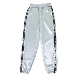 2019 Women Summer Big Pocket Satin Highlight Pants Glossy Sports Ribbon Trousers BF Harajuku Joggers Sports Pants Gym Leggings(China)